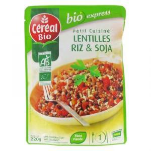 Petit cuisiné lentilles riz et soja